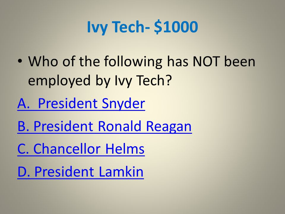 Ivy Tech - $400 Try Again!