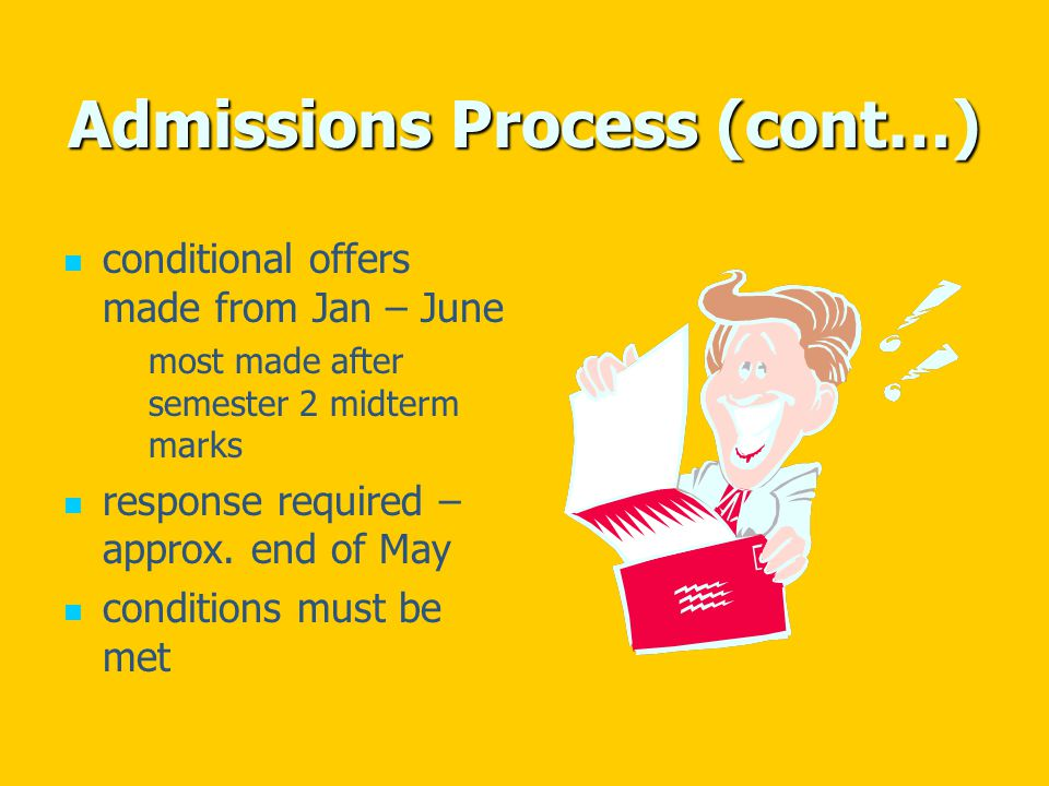 Admissions Process (cont…) conditional offers made from Jan – June most made after semester 2 midterm marks response required – approx.