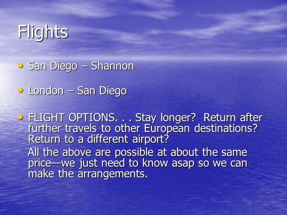 Flights San Diego – Shannon San Diego – Shannon London – San Diego London – San Diego FLIGHT OPTIONS...