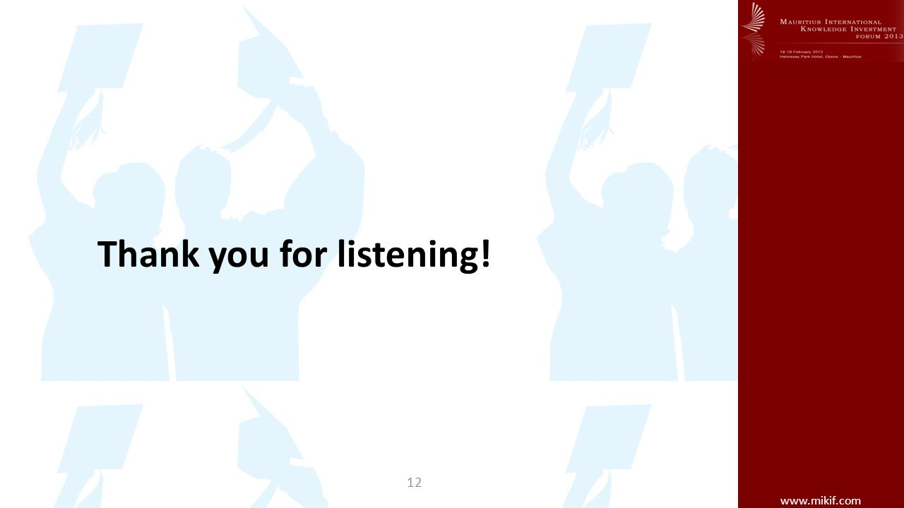 www.mikif.com Thank you for listening! 12