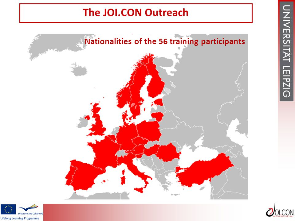 Nationalities of the 56 training participants The JOI.CON Outreach