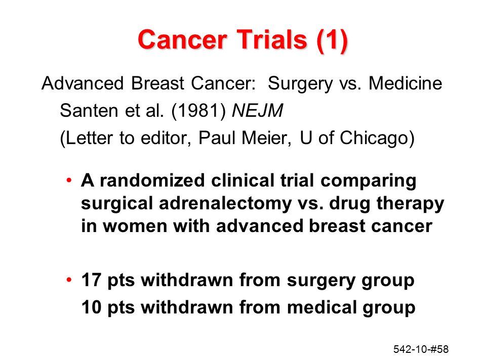 542-10-#58 Cancer Trials (1) Advanced Breast Cancer: Surgery vs. Medicine Santen et al. (1981) NEJM (Letter to editor, Paul Meier, U of Chicago) A ran