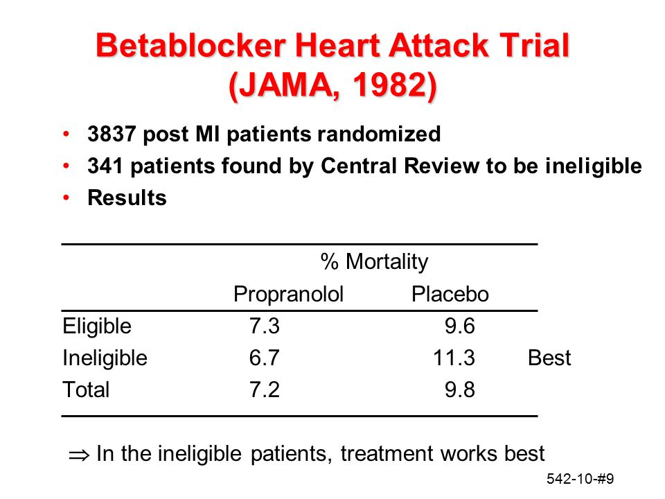 542-10-#10 Anturane Reinfarction Trial (1980) NEJM Randomized, double blind, placebo controlled AnturanePlaceboTotal Randomized8138161629 Ineligible383371 Reasons for ineligible 1/3 -time since MI: 35 days 1/3 -enzymes not elevated 1/3 -other: age, enlarged heart, prolonged hospitalization,.… Number ineligible about the same in each treatment group BUT
