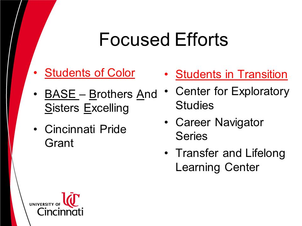 Focused Efforts Students of Color BASE – Brothers And Sisters Excelling Cincinnati Pride Grant Students in Transition Center for Exploratory Studies Career Navigator Series Transfer and Lifelong Learning Center