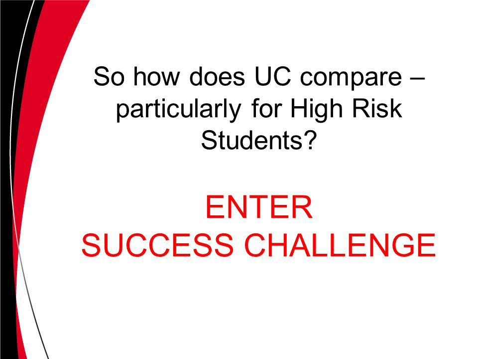 So how does UC compare – particularly for High Risk Students? ENTER SUCCESS CHALLENGE