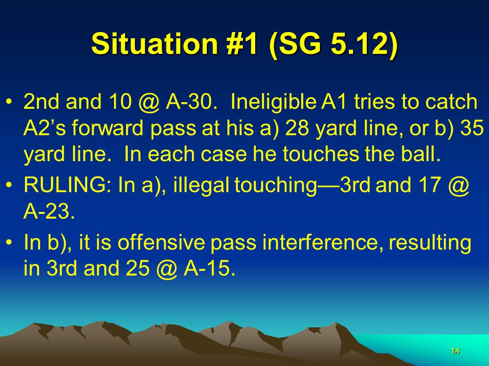 14 Situation #1 (SG 5.12) 2nd and 10 @ A-30.