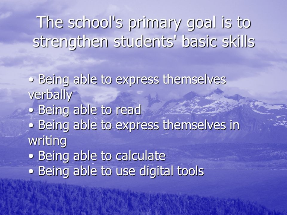 The school s primary goal is to strengthen students basic skills Being able to express themselves verbally Being able to read Being able to express themselves in writing Being able to calculate Being able to use digital tools Being able to express themselves verbally Being able to read Being able to express themselves in writing Being able to calculate Being able to use digital tools