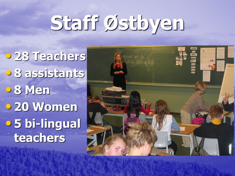 Staff Østbyen 28 Teachers 28 Teachers 8 assistants 8 assistants 8 Men 8 Men 20 Women 20 Women 5 bi-lingual teachers 5 bi-lingual teachers