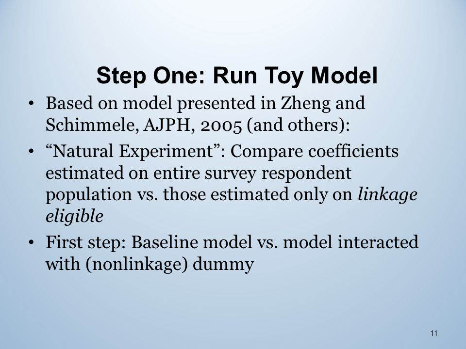 "Step One: Run Toy Model 11 Based on model presented in Zheng and Schimmele, AJPH, 2005 (and others): ""Natural Experiment"": Compare coefficients estima"