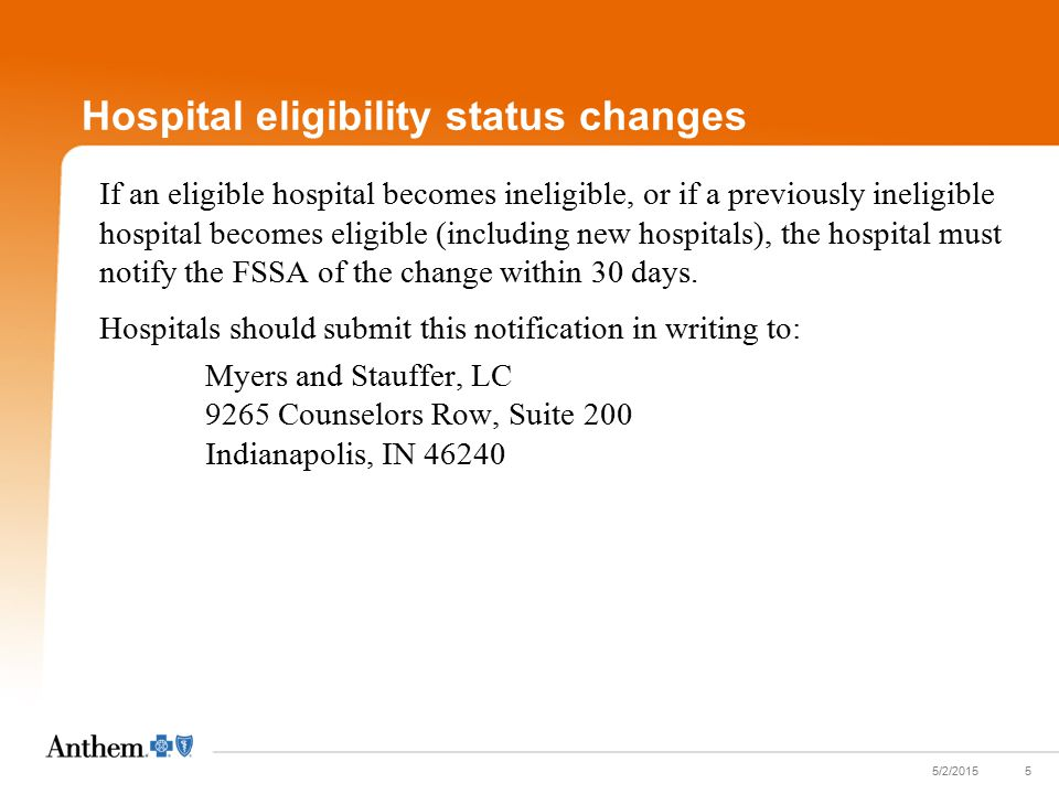 Hospital eligibility status changes If an eligible hospital becomes ineligible, or if a previously ineligible hospital becomes eligible (including new hospitals), the hospital must notify the FSSA of the change within 30 days.