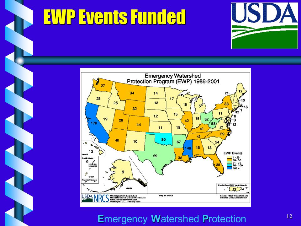 EWP Emergency Watershed Protection12 EWP Events Funded