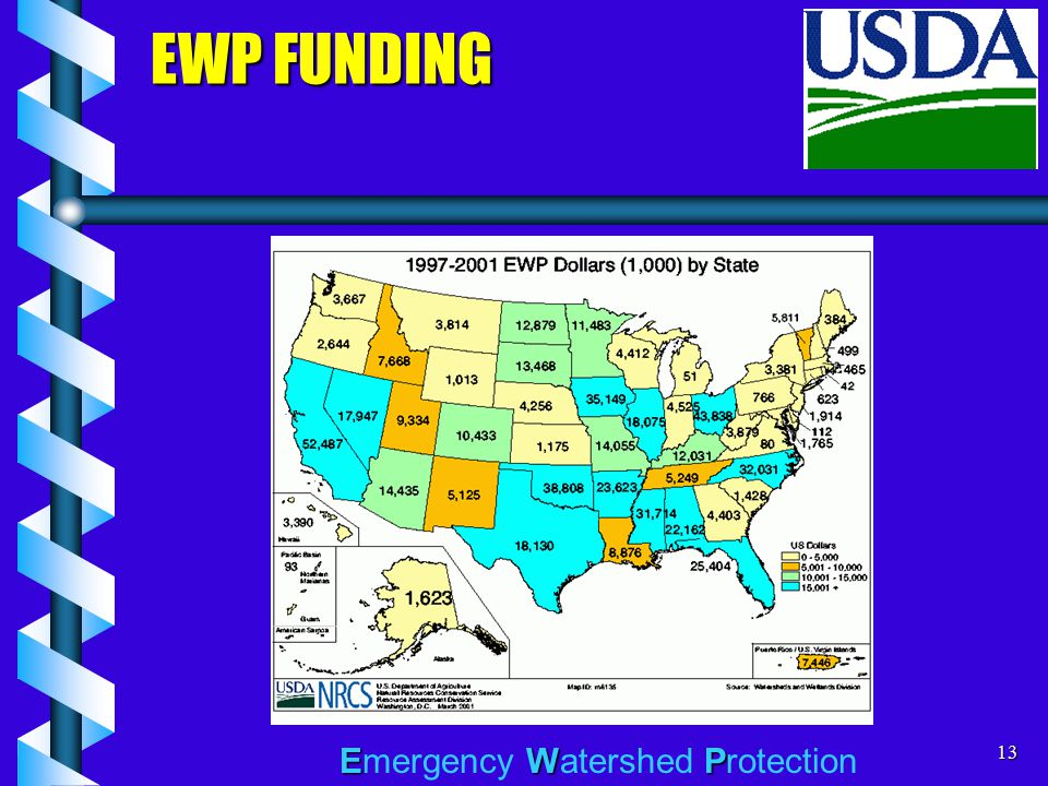 EWP Emergency Watershed Protection13 EWP FUNDING