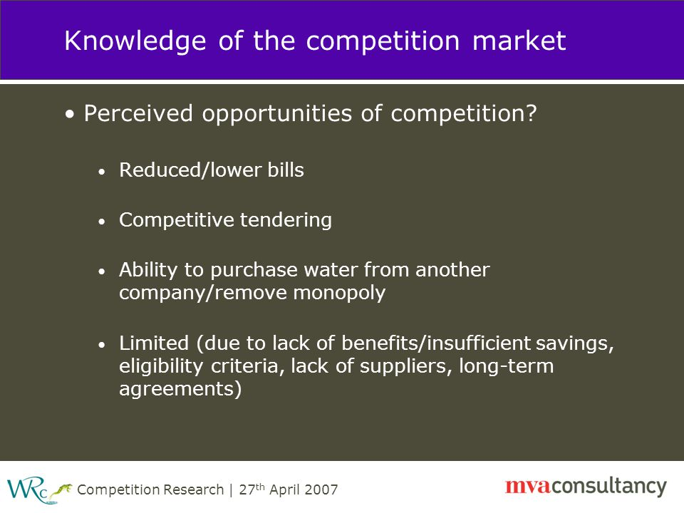 Competition Research | 27 th April 2007 Knowledge of the competition market Perceived opportunities of competition.