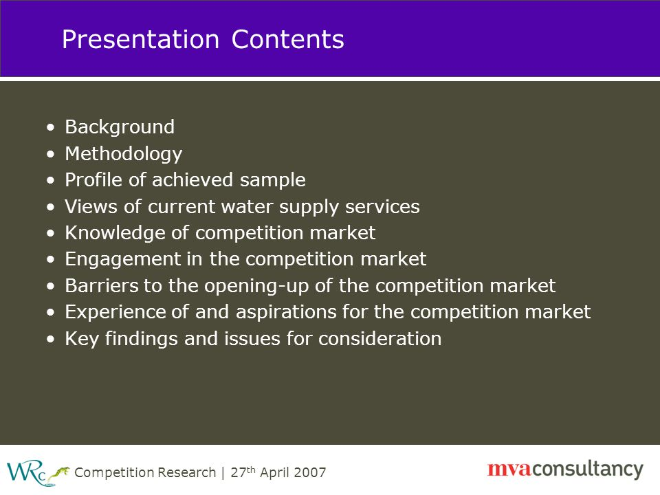 Competition Research | 27 th April 2007 Engagement in the competition market Which of the following makes, or would make, you more likely to consider changing your supplier.