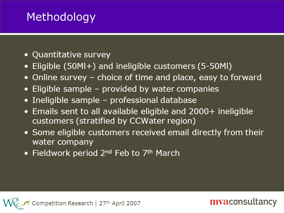 Competition Research | 27 th April 2007 Methodology Quantitative survey Eligible (50Ml+) and ineligible customers (5-50Ml) Online survey – choice of time and place, easy to forward Eligible sample – provided by water companies Ineligible sample – professional database Emails sent to all available eligible and 2000+ ineligible customers (stratified by CCWater region) Some eligible customers received email directly from their water company Fieldwork period 2 nd Feb to 7 th March