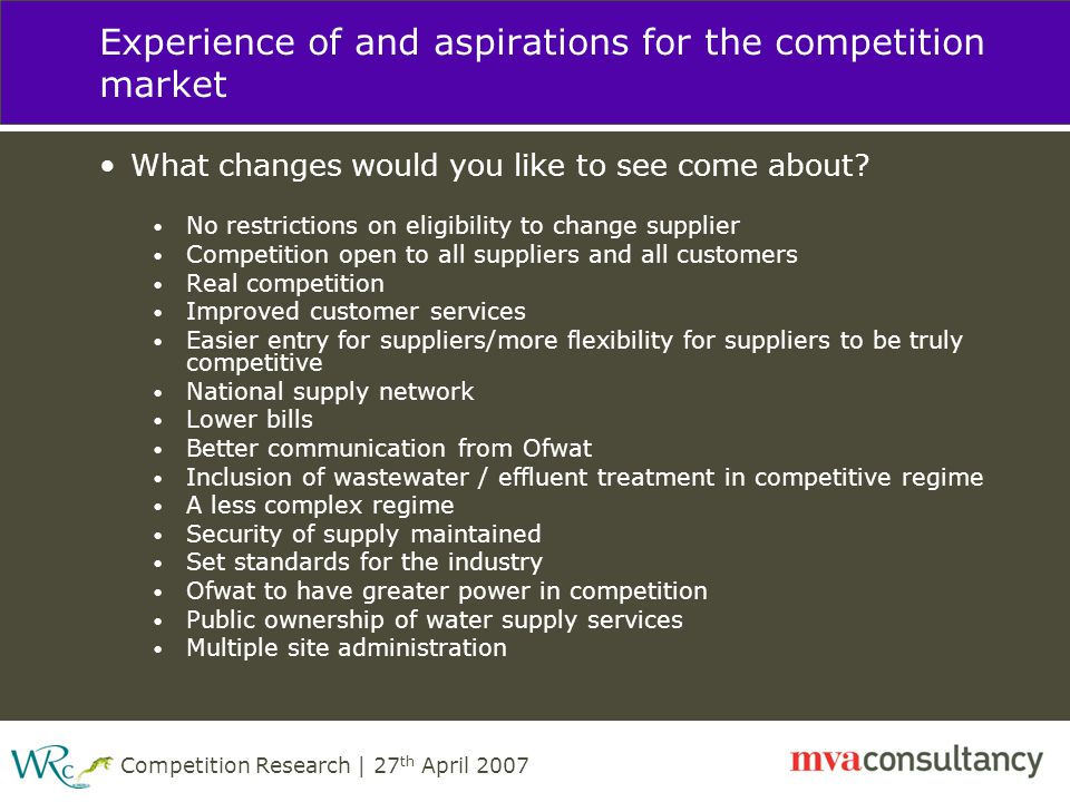 Competition Research | 27 th April 2007 Experience of and aspirations for the competition market What changes would you like to see come about.