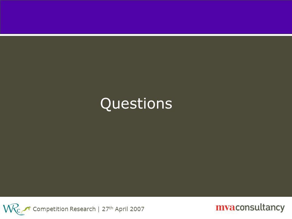 Competition Research | 27 th April 2007 Questions