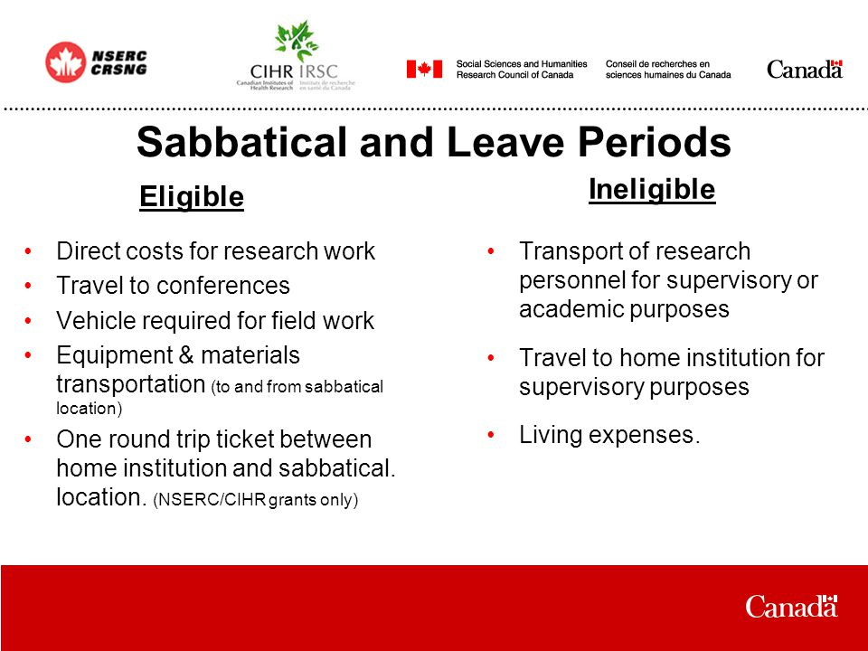 Sabbatical and Leave Periods Direct costs for research work Travel to conferences Vehicle required for field work Equipment & materials transportation (to and from sabbatical location) One round trip ticket between home institution and sabbatical.
