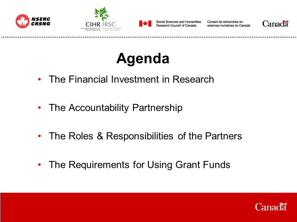 Agenda The Financial Investment in Research The Accountability Partnership The Roles & Responsibilities of the Partners The Requirements for Using Grant Funds