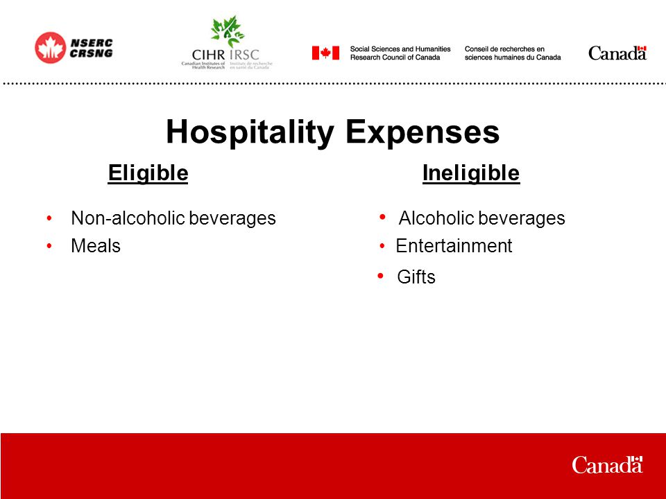 Hospitality Expenses Non-alcoholic beverages Alcoholic beverages Meals Entertainment Gifts EligibleIneligible