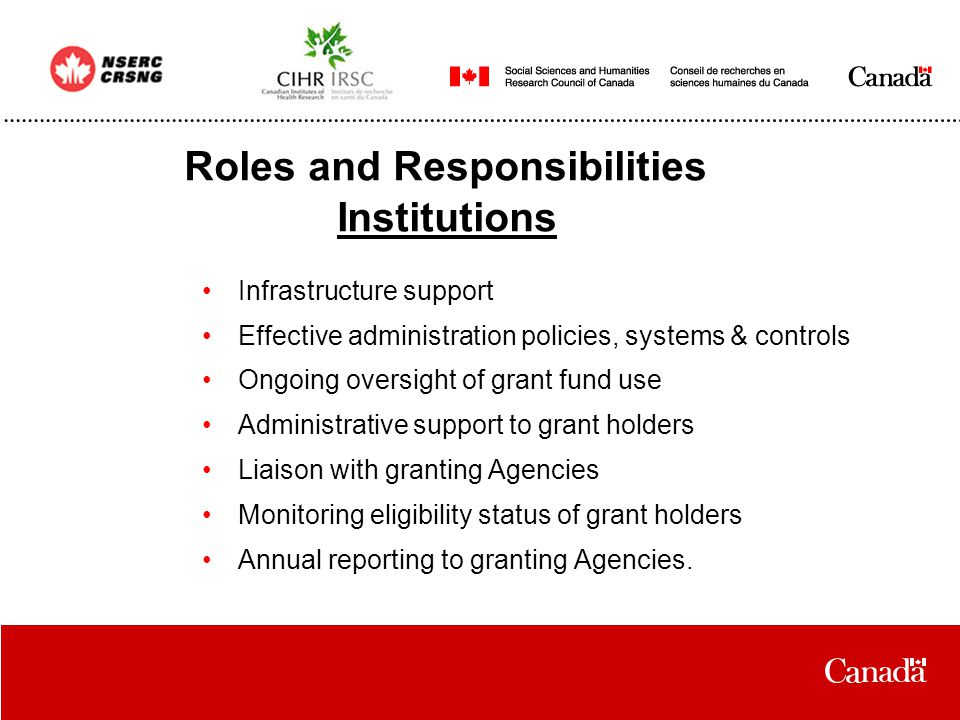 Roles and Responsibilities Institutions Infrastructure support Effective administration policies, systems & controls Ongoing oversight of grant fund use Administrative support to grant holders Liaison with granting Agencies Monitoring eligibility status of grant holders Annual reporting to granting Agencies.
