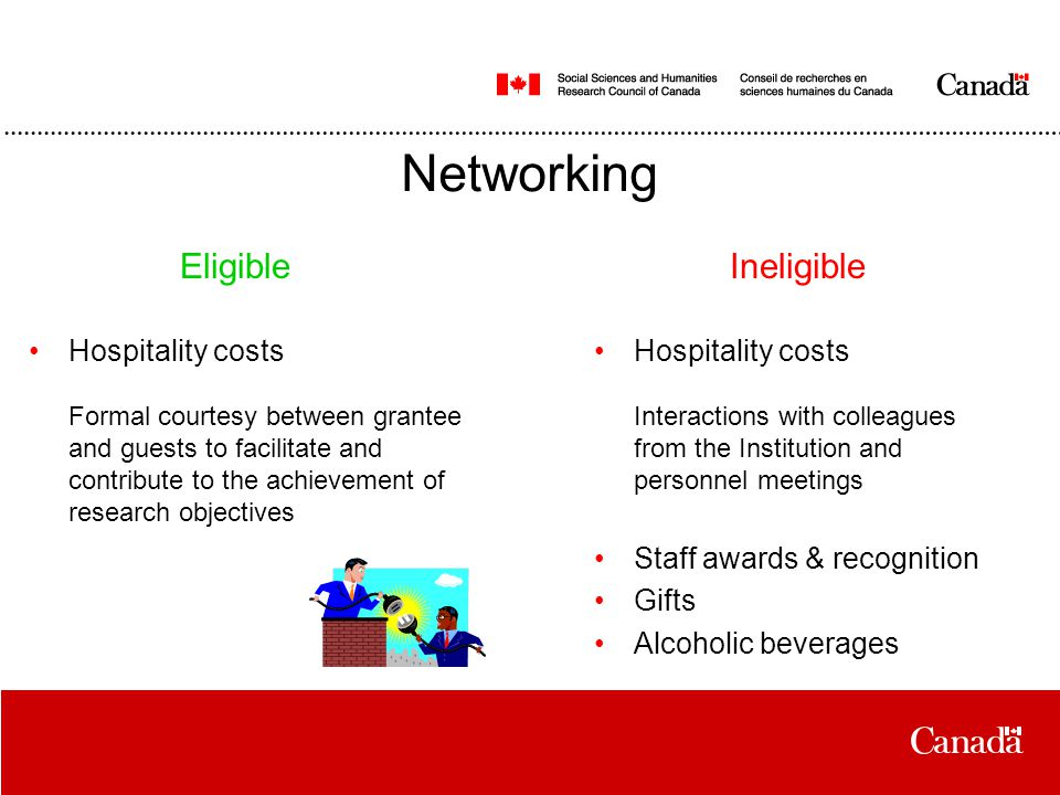 Networking Hospitality costs Formal courtesy between grantee and guests to facilitate and contribute to the achievement of research objectives Hospitality costs Interactions with colleagues from the Institution and personnel meetings Staff awards & recognition Gifts Alcoholic beverages EligibleIneligible