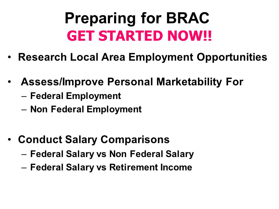 Preparing for BRAC GET STARTED NOW!.