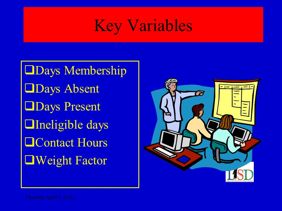 Monday April 8, 2002 Key Variables  Days Membership  Days Absent  Days Present  Ineligible days  Contact Hours  Weight Factor