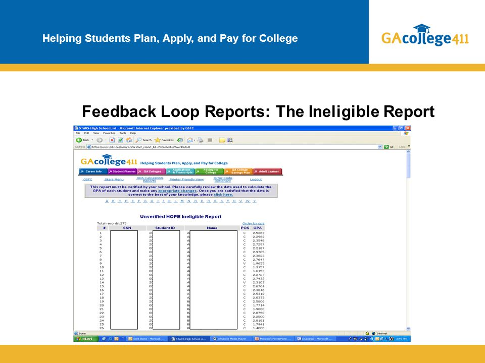 Helping Students Plan, Apply, and Pay for College Feedback Loop Reports: The Ineligible Report