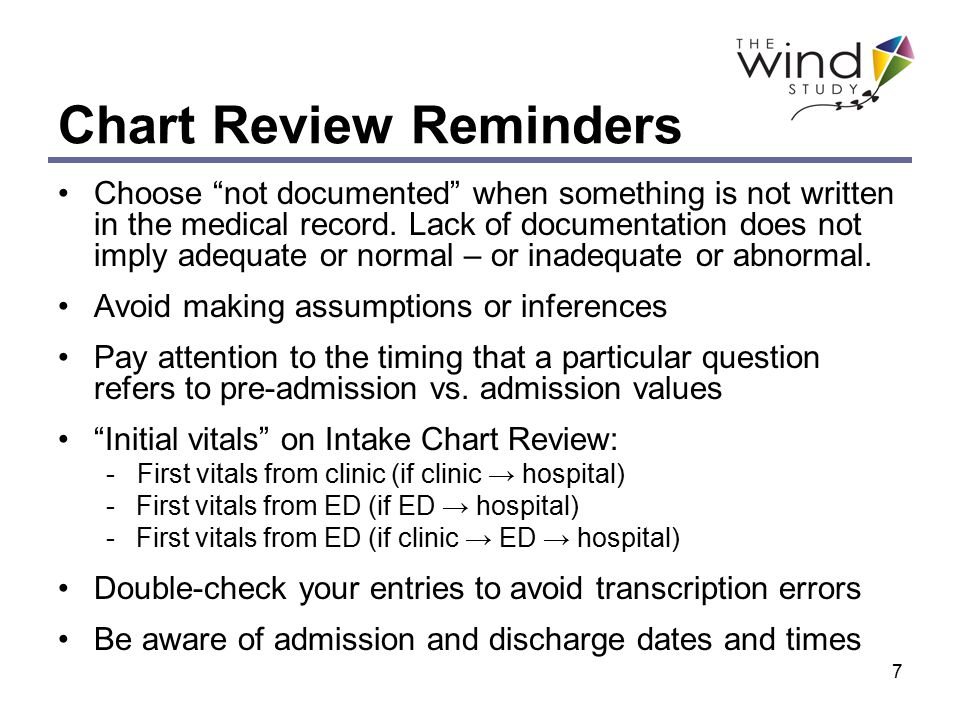 7 Chart Review Reminders Choose not documented when something is not written in the medical record.