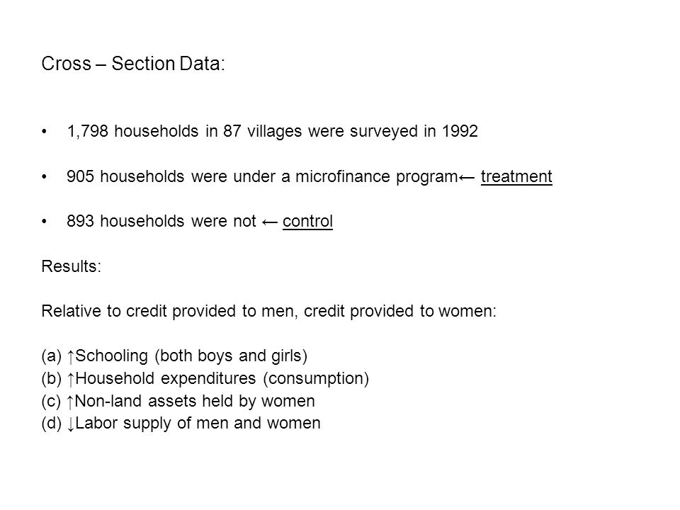 Cross – Section Data: 1,798 households in 87 villages were surveyed in 1992 905 households were under a microfinance program← treatment 893 households were not ← control Results: Relative to credit provided to men, credit provided to women: (a) ↑Schooling (both boys and girls) (b) ↑Household expenditures (consumption) (c) ↑Non-land assets held by women (d) ↓Labor supply of men and women