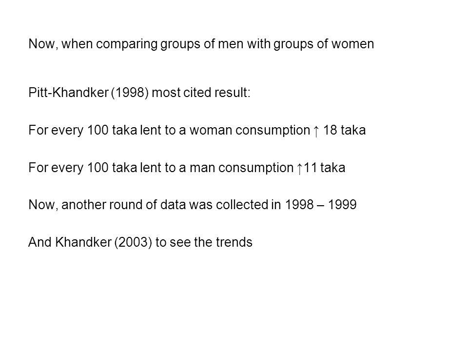 Now, when comparing groups of men with groups of women Pitt-Khandker (1998) most cited result: For every 100 taka lent to a woman consumption ↑ 18 taka For every 100 taka lent to a man consumption ↑11 taka Now, another round of data was collected in 1998 – 1999 And Khandker (2003) to see the trends