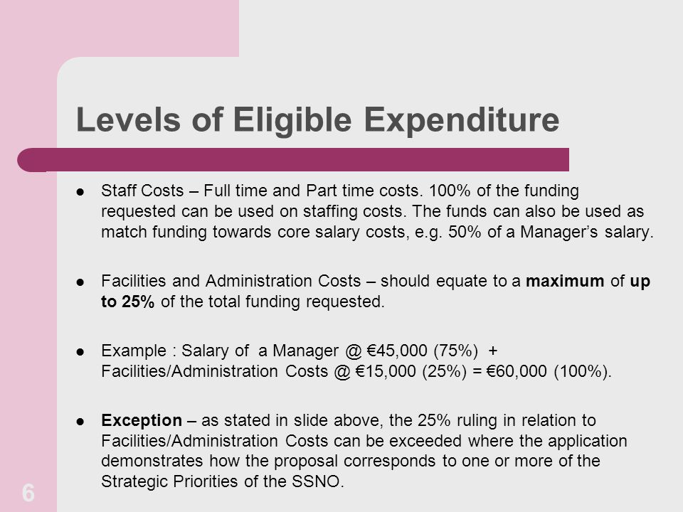 Levels of Eligible Expenditure Staff Costs – Full time and Part time costs.