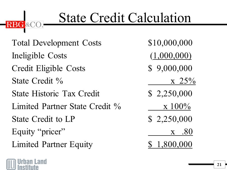 21 State Credit Calculation Total Development Costs$10,000,000 Ineligible Costs (1,000,000) Credit Eligible Costs$ 9,000,000 State Credit %x 25% State