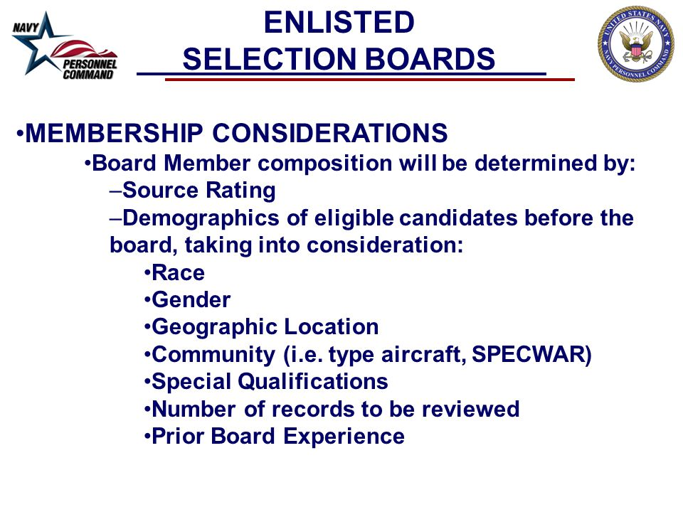 WHAT THE BOARD CONSIDERS Warfare Qualifications If at a command where you warfare designators can be attained, it is a requirement to qualify Special Qualifications NAC, MTS, ATS, EOOW or CSOW Awards Personal awards in current paygrade carries more weight Education - Schools, Courses, etc Community Service (leadership roles) Collateral Duties (especially command level) i.e.