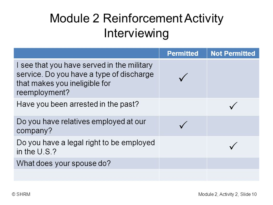Module 2 Reinforcement Activity Interviewing PermittedNot Permitted I see that you have served in the military service. Do you have a type of discharg