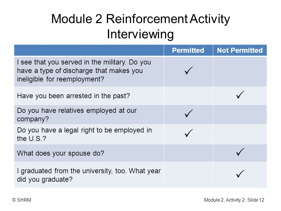 Module 2 Reinforcement Activity Interviewing PermittedNot Permitted I see that you served in the military. Do you have a type of discharge that makes