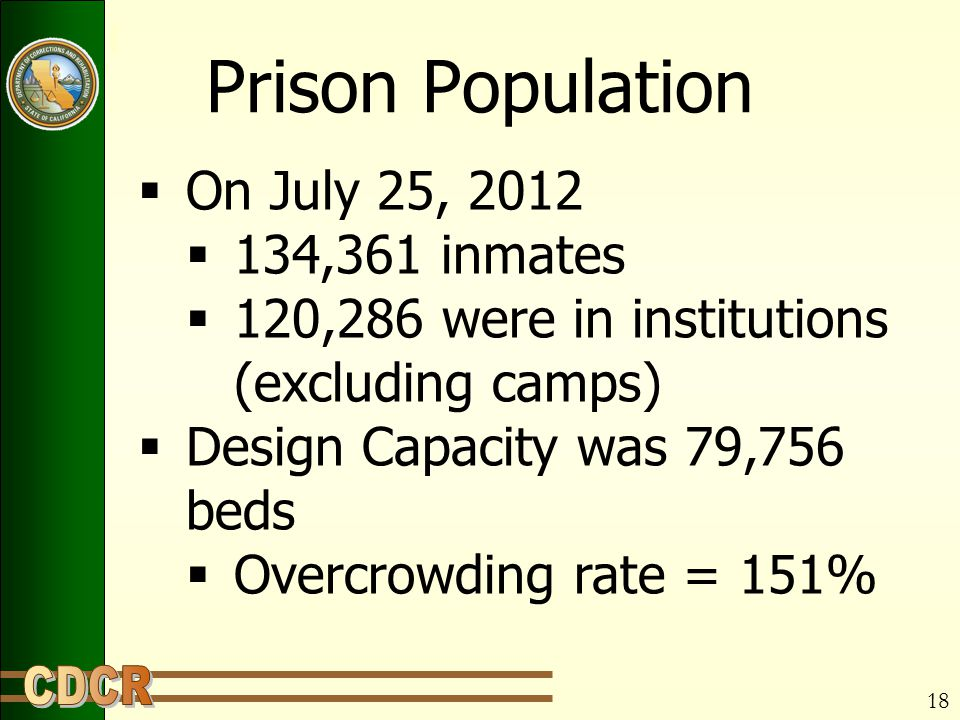 Prison Population  On July 25, 2012  134,361 inmates  120,286 were in institutions (excluding camps)  Design Capacity was 79,756 beds  Overcrowding rate = 151% 18