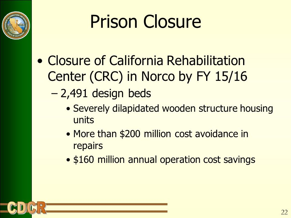 22 Prison Closure Closure of California Rehabilitation Center (CRC) in Norco by FY 15/16 –2,491 design beds Severely dilapidated wooden structure housing units More than $200 million cost avoidance in repairs $160 million annual operation cost savings