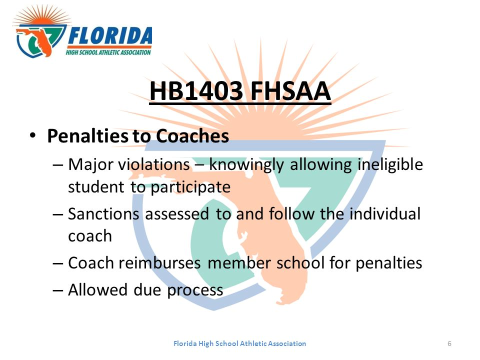 HB1403 FHSAA Penalties to Coaches – Major violations – knowingly allowing ineligible student to participate – Sanctions assessed to and follow the ind