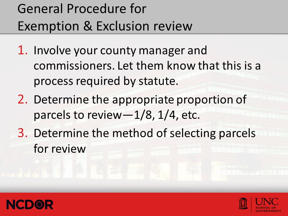 General Procedure for Exemption & Exclusion review 1.