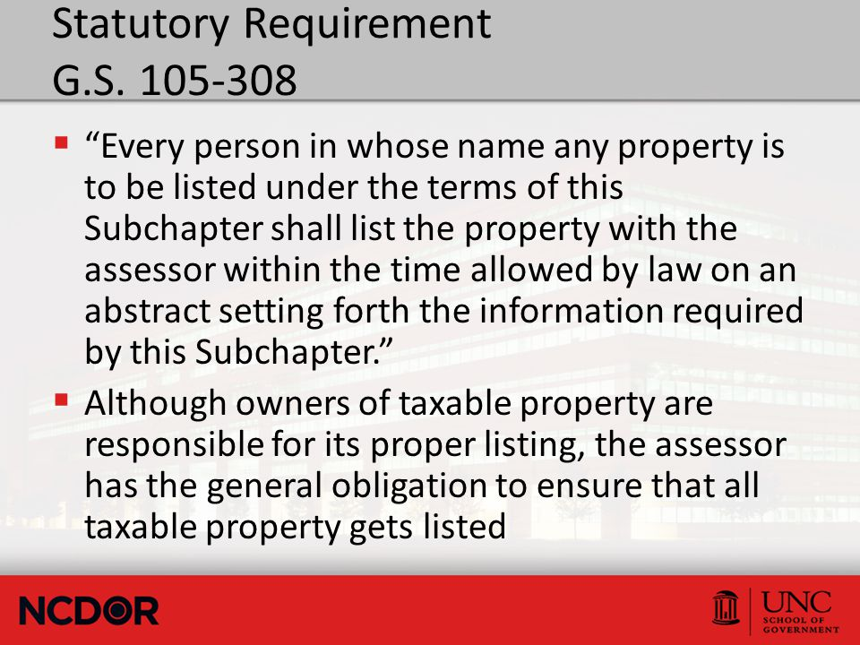 "Statutory Requirement G.S. 105-308  ""Every person in whose name any property is to be listed under the terms of this Subchapter shall list the proper"