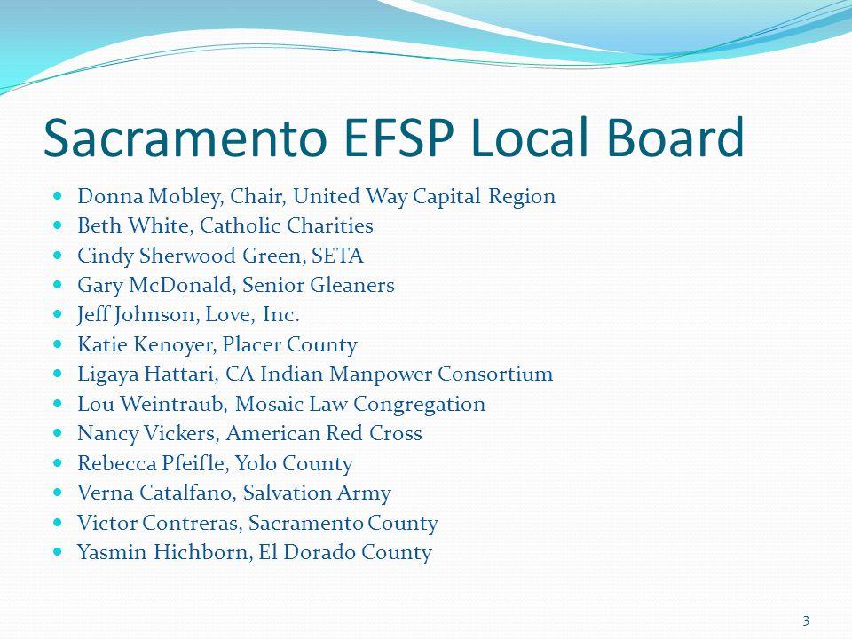 Sacramento EFSP Local Board Donna Mobley, Chair, United Way Capital Region Beth White, Catholic Charities Cindy Sherwood Green, SETA Gary McDonald, Senior Gleaners Jeff Johnson, Love, Inc.