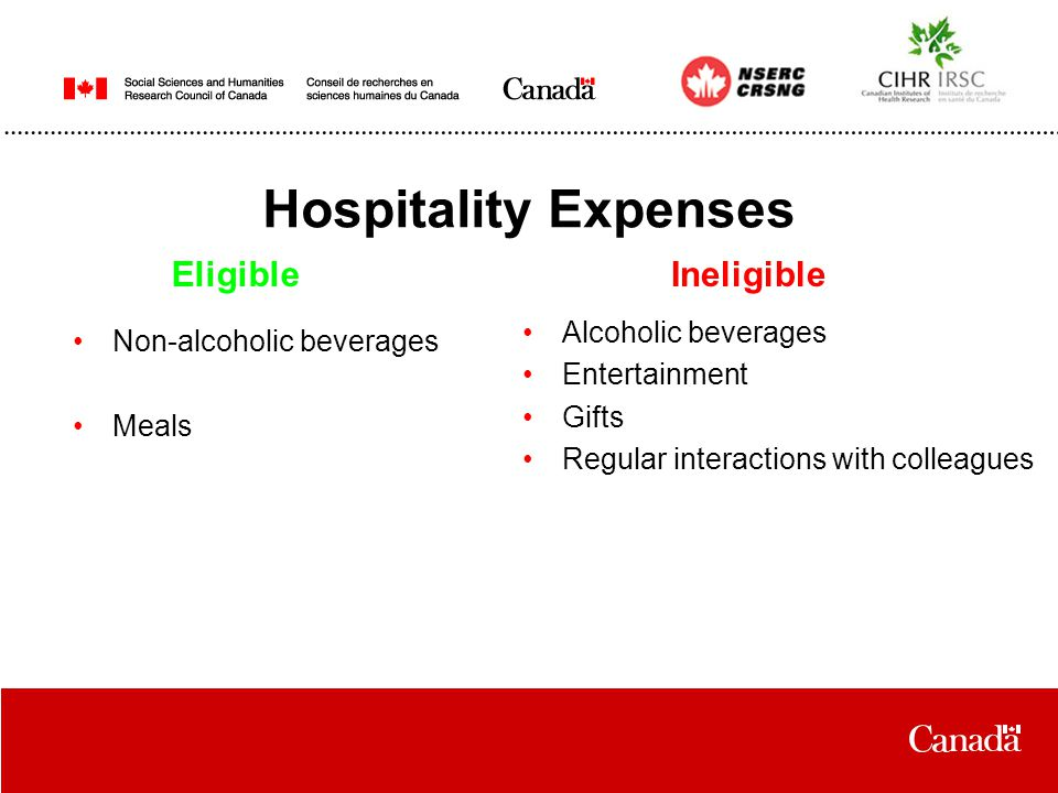 Hospitality Expenses Non-alcoholic beverages Meals EligibleIneligible Alcoholic beverages Entertainment Gifts Regular interactions with colleagues