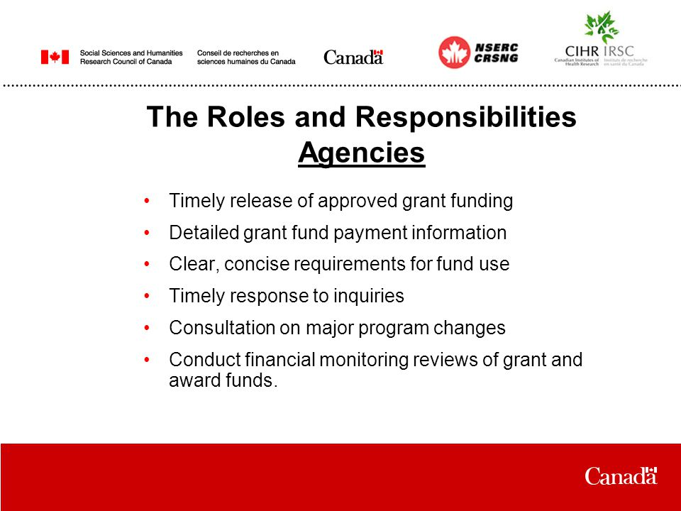 The Roles and Responsibilities Agencies Timely release of approved grant funding Detailed grant fund payment information Clear, concise requirements for fund use Timely response to inquiries Consultation on major program changes Conduct financial monitoring reviews of grant and award funds.