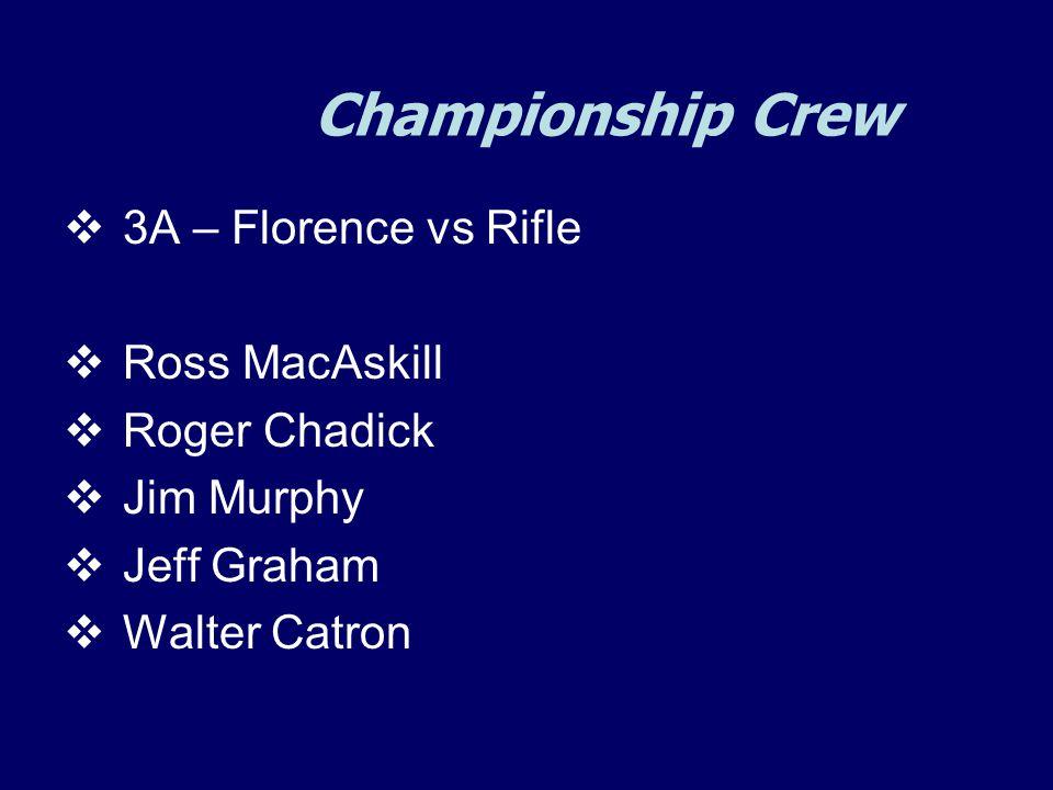 Championship Crew  3A – Florence vs Rifle  Ross MacAskill  Roger Chadick  Jim Murphy  Jeff Graham  Walter Catron