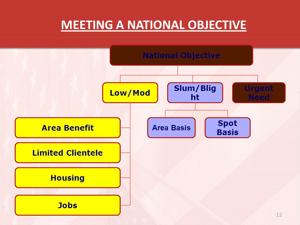 12 MEETING A NATIONAL OBJECTIVE National Objective Spot Basis Area Basis Urgent Need Slum/Blig ht Low/Mod Area Benefit Limited Clientele Housing Jobs