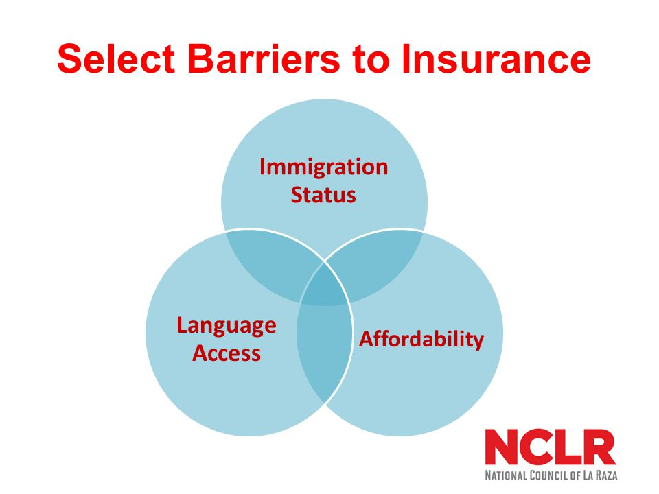 Select Barriers to Insurance Immigration Status Affordability Language Access