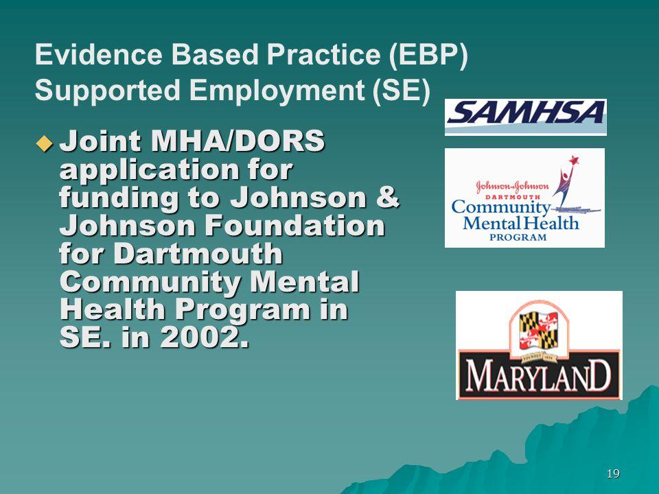  Joint MHA/DORS application for funding to Johnson & Johnson Foundation for Dartmouth Community Mental Health Program in SE. in 2002. Evidence Based