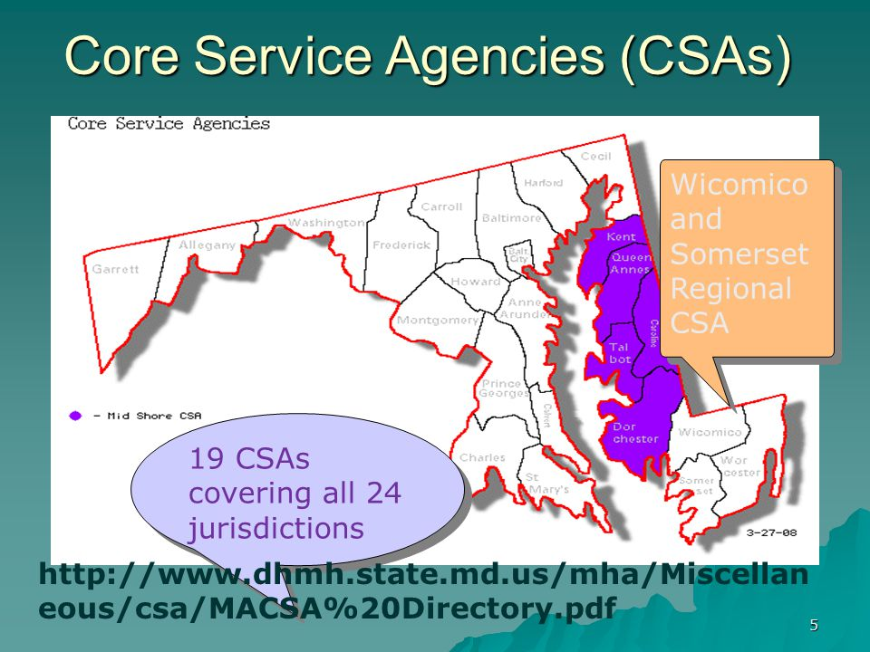 CSAs (continued)  Core Service Agencies provide services and resources to consumers and families that are not otherwise available through the fee-for service Public Mental Health System (PMHS)  training and education;  peer support and advocacy;  family support and advocacy;  specialized services for Transitional Age Youth (TAY) (in 12 jurisdictions) 6